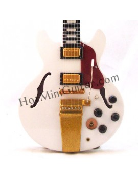 Miniature Guitar - Alex Lifeson - Gibson ES-355 White Due Reissue Custom