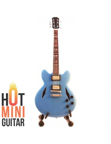 Miniature Guitar - Dave Grohl - Gibson ES-333 Pelham Blue Inspired by Custom