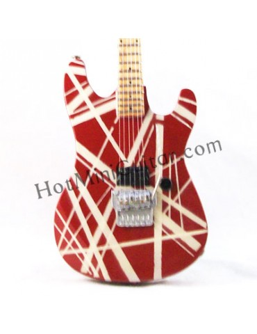 Miniature Guitar - Eddie Van Halen - Charvel Strato Red White Stripe 1982 Custom