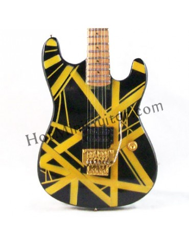 Miniature Guitar - Eddie Van Halen - Charvel Strato Black Yellow Stripe 1982 Custom