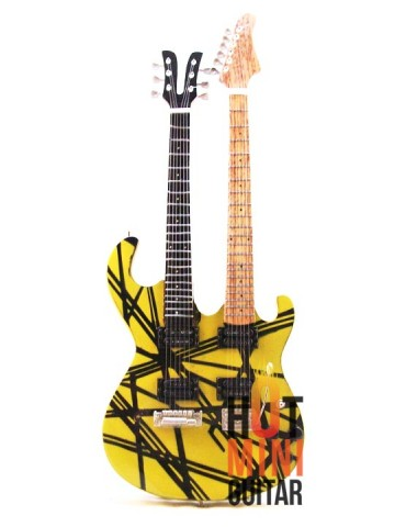 Miniature Guitar - Eddie Van Halen - Kramer Yellow Striped Double-neck Aluminum and Classic Head Custom