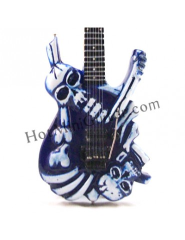 Miniature Guitar - George Lynch - J.Frog Skull and Bones White Carving Custom