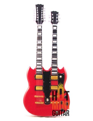 Miniature Guitar - Jimmy Page - Gibson EDS-1275 Red Double Neck Gold Pickup Reissue Custom