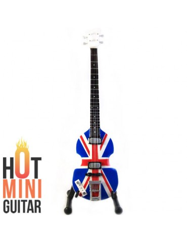 Miniature Bass Guitar - Paul McCartney - Hofner Jubille Union Jack UK Flag Custom