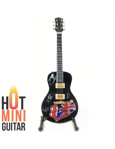 Miniature Guitar - Rolling Stone - Canvas Rolling Stone Logo Black Signed Custom