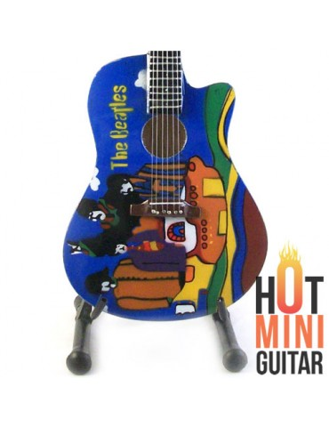 Miniature Guitar - The Beatles - Gibson J160e Yellow Submarine Tribute Acoustic Custom